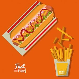 オレンジ色の背景にホットドッグとフライドポストファーストフード