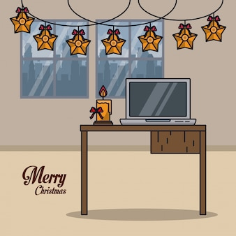 Рождество в офисе иллюстрации