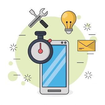 ツールアイコンと電球とメールでスマートフォンと時計タイマー