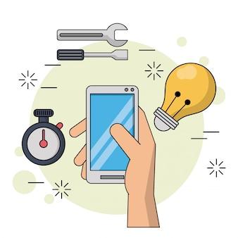 スマートフォンとツールのアイコンとタイマーと電球を見る
