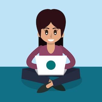 ラップトップで働いている女性の色の背景