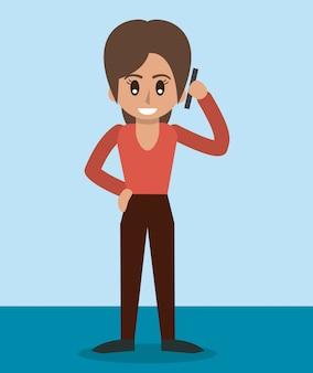 立って話しているスマートフォンの女性の色の背景