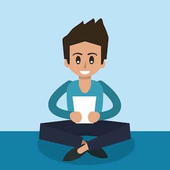 タブレットデバイスで座っている男の色の背景