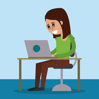 デスクトップコンピュータと女性が座っている机の色の背景