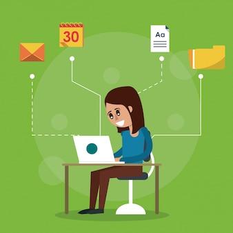 ノートパソコンと女性が座っている机の色の背景