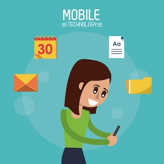 スマートフォンで立っている女性の半分の体とカラーポスター