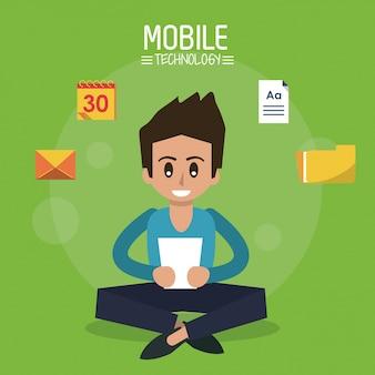 タブレットデバイスとアイコンで座っている男とカラーポスター