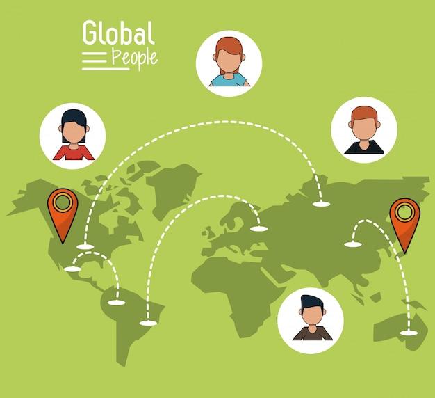 世界の地図と地図ポインタによる明るい緑色の背景