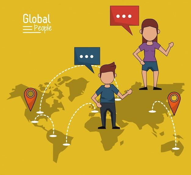 黄色の背景と世界の地図と地図のポインタのルート