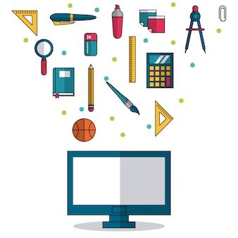 学校の要素のコンピュータと小さなアイコン