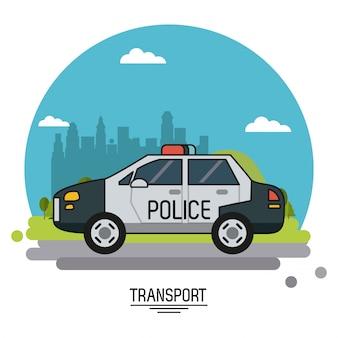Красочный плакат с полицейской машиной на фоне окраины города