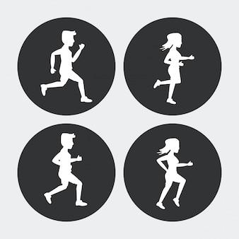 走っている男性と女性のアスリートのシルエットセット