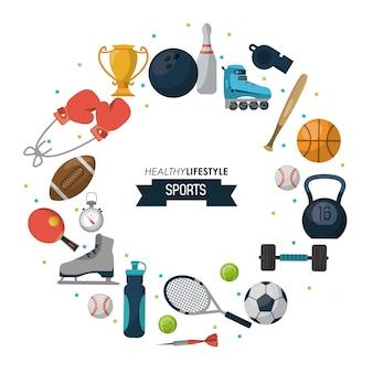 周りの要素を持つ健康的なライフスタイルのスポーツのポスター