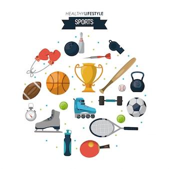 健康的なライフスタイルスポーツのスポーツ要素のポスター