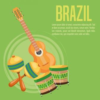 ギターのドラムとマラカのアイコン。ブラジル文化アメリカ