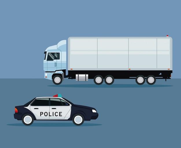 トラックと警察の車の車の輸送と色の背景