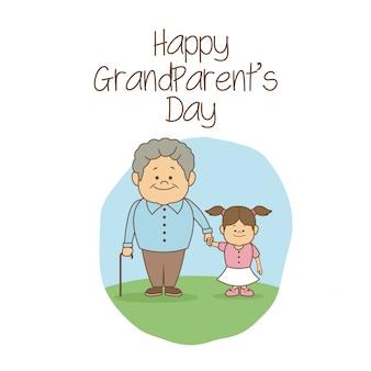 女の子、幸せ、祖父母、日