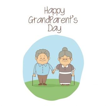 幸せな祖父母の日を保持しているシーン老人カップル
