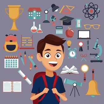 Цвет фона с набором школьных элементов и студент с сумкой