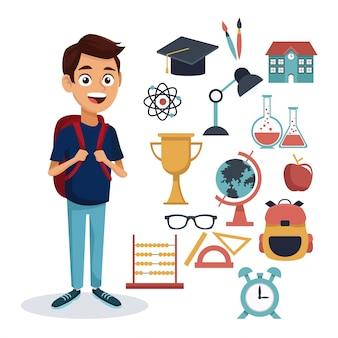 Красочный мальчик студент, полный тело с сумкой и набор школьных элементов