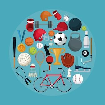 設定されたコレクション要素スポーツの円形フレームと色の背景