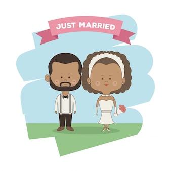 Только что женился пара невесты и жениха брюнетка