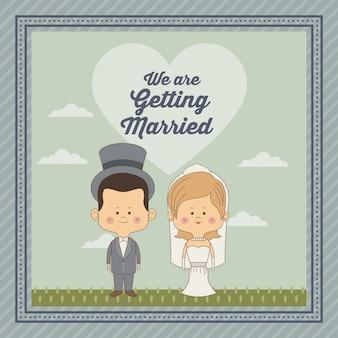 Декоративная рамка только что женился пара невесты с блондинкой волосы и жених в шляпе