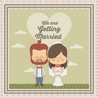 ちょうど結婚した夫婦の花嫁、茶色の長い髪と新郎でメガネと赤毛