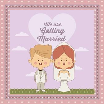 Декоративная рамка только что женился пара невесты с собранными волосами и блондинка жених