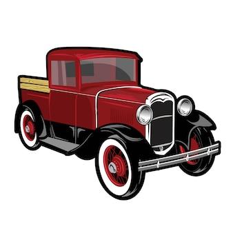 赤い古典的なトラック輸送車の図