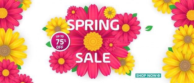美しいカラフルな花と春のセールのバナー