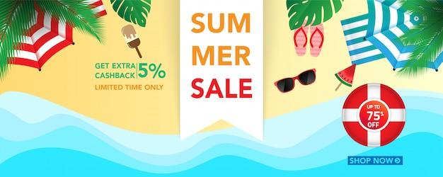 Летняя распродажа баннер шаблон с фоном тропических листьев