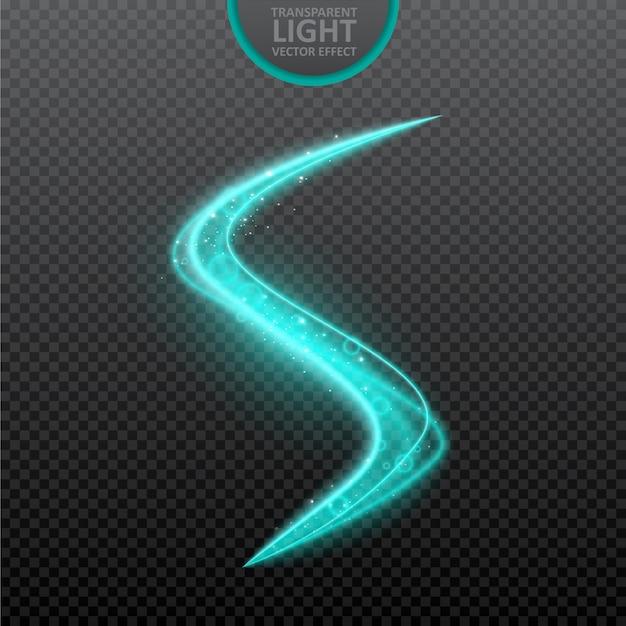 リアルな輝きと青い光の効果透明な背景。