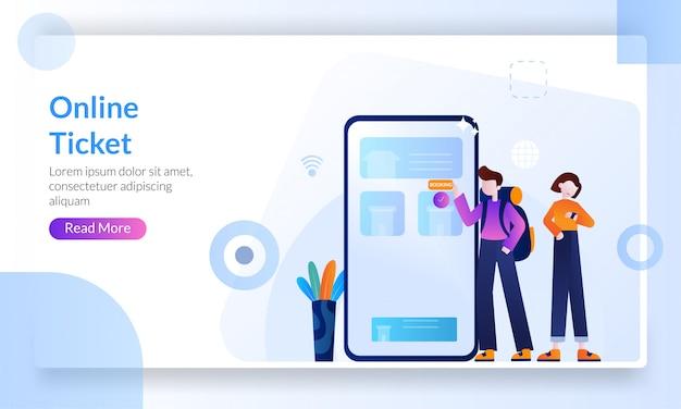 Концепция онлайн билета, покупка билета в интернете с помощью мобильного телефона