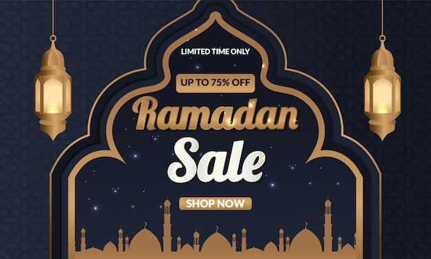 Рамадан продажа баннер с фонарем и исламским орнаментом