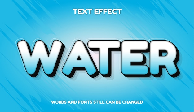 Вода современный редактируемый текстовый эффект с градиентным цветом