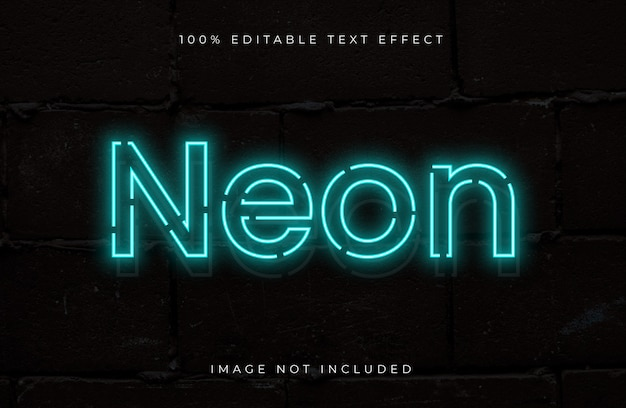 Неоновый стиль редактируемый текстовый эффект. светлый текстовый эффект