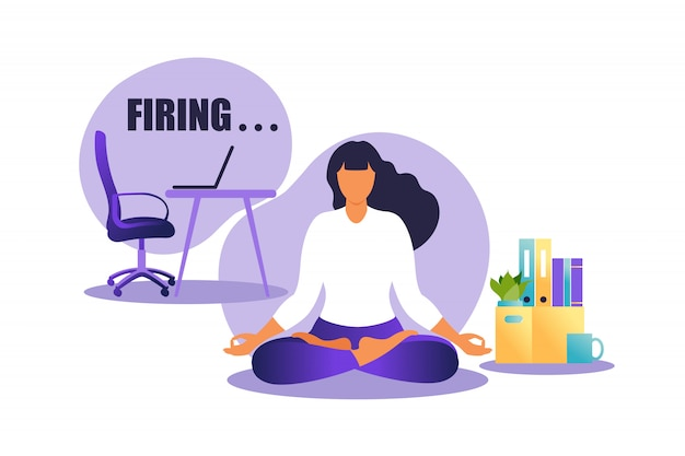 Иллюстрация увольнения работника. женщина, сидящая в позе лотоса практикующих медитации. понятие безработицы, кризис, безработица и сокращение рабочих мест. потеря работы. иллюстрация в квартире.
