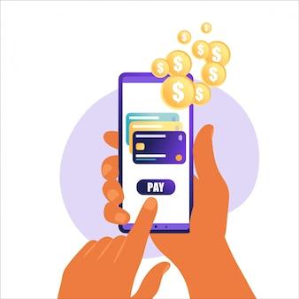 Плоский дизайн стиль векторные иллюстрации современного смартфона с обработкой мобильных платежей с кредитной карты на экране. рядом с полем концепция коммуникационных технологий. изолированные