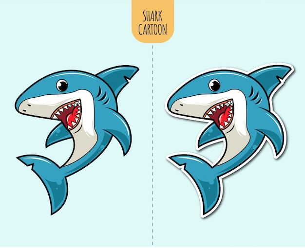 Рисованной иллюстрации мультфильм акула с наклейкой вариант дизайна