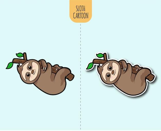 Нарисованная рукой иллюстрация шаржа ленивца с вариантом дизайна стикера