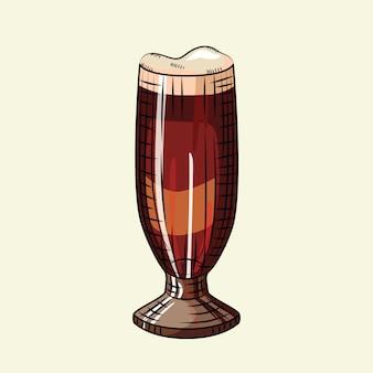 Пивной стакан с пеной, изолированные на светлом фоне. алкогольный напиток плакат.