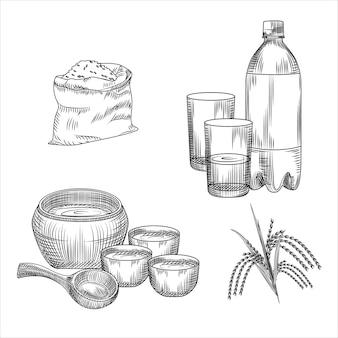 Набор макгеолли. корейский традиционный алкогольный напиток рисовое вино. мешок с рисом, пластиковая бутылка, стекло, керамическая посуда, ветка риса
