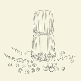 ペッパーコーンミルコンセプト。コショウセット。グラインダースパイスと食材。