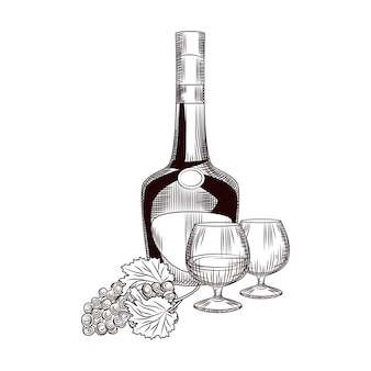 Ручной обращается коньяк бутылка и гроздь винограда. бутылка бренди и винограда эскиз, изолированные на белом фоне.