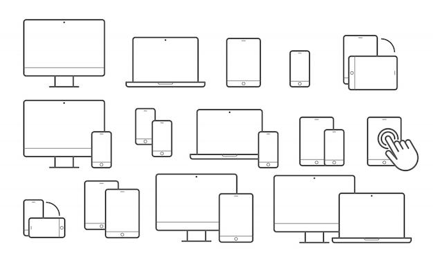 Значки устройств линии для адаптивного дизайна