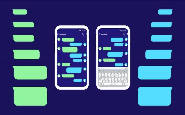 Мобильный телефон с сообщением. пустые сообщения пузыри. интерфейс смс чата.