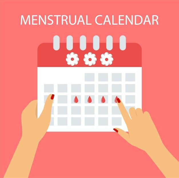 Менструальный календарь в плоском стиле.