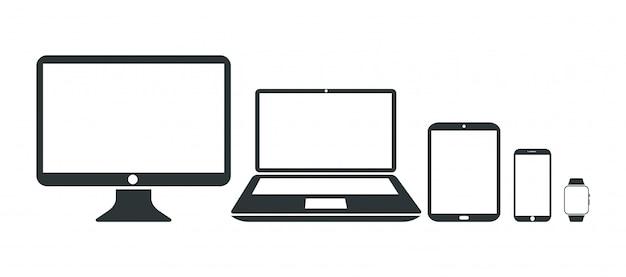 モニター、ラップトップ、タブレット、スマートフォン、スマートウォッチ