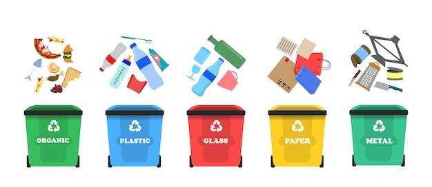 廃棄物の分別。ゴミを分別します。